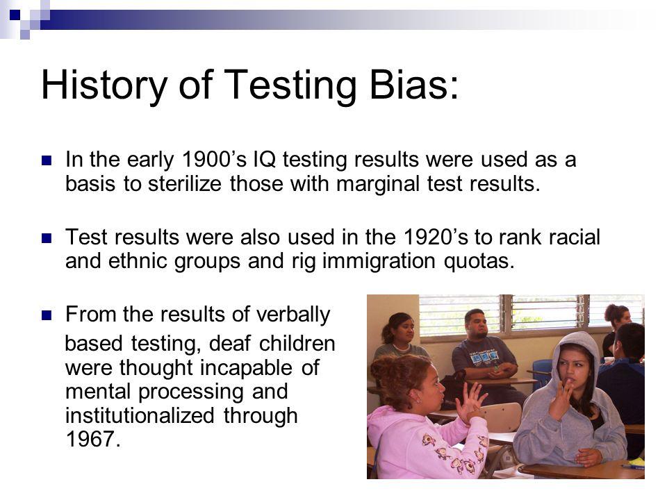 History of Testing Bias: