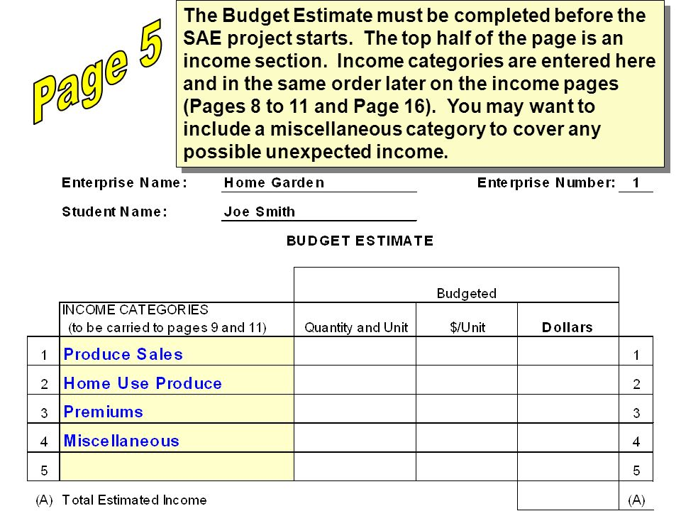 The Budget Estimate must be completed before the SAE project starts