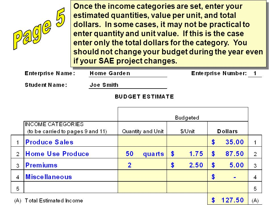 Once the income categories are set, enter your estimated quantities, value per unit, and total dollars. In some cases, it may not be practical to enter quantity and unit value. If this is the case enter only the total dollars for the category. You should not change your budget during the year even if your SAE project changes.