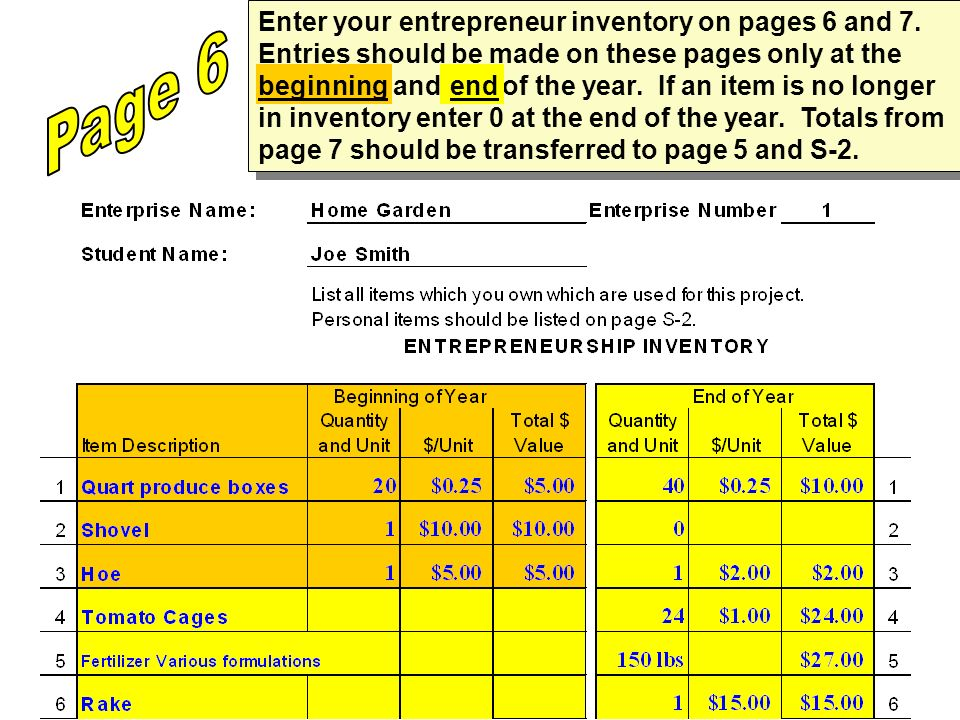 Enter your entrepreneur inventory on pages 6 and 7