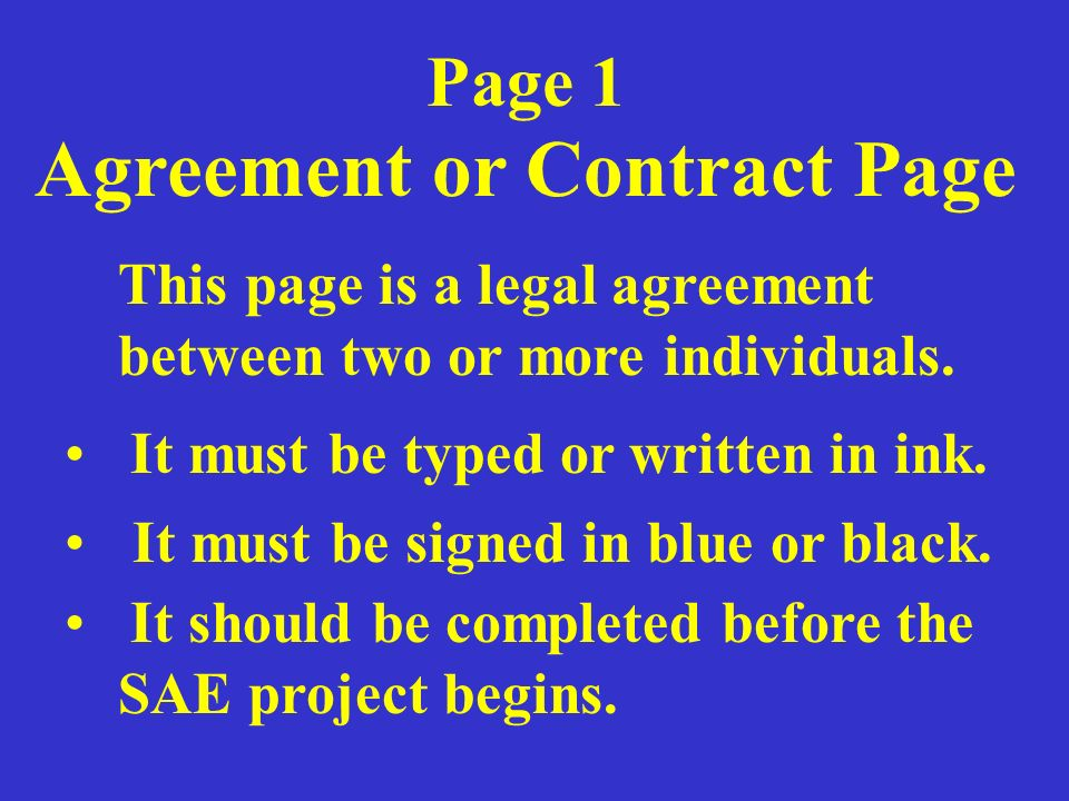 Agreement or Contract Page