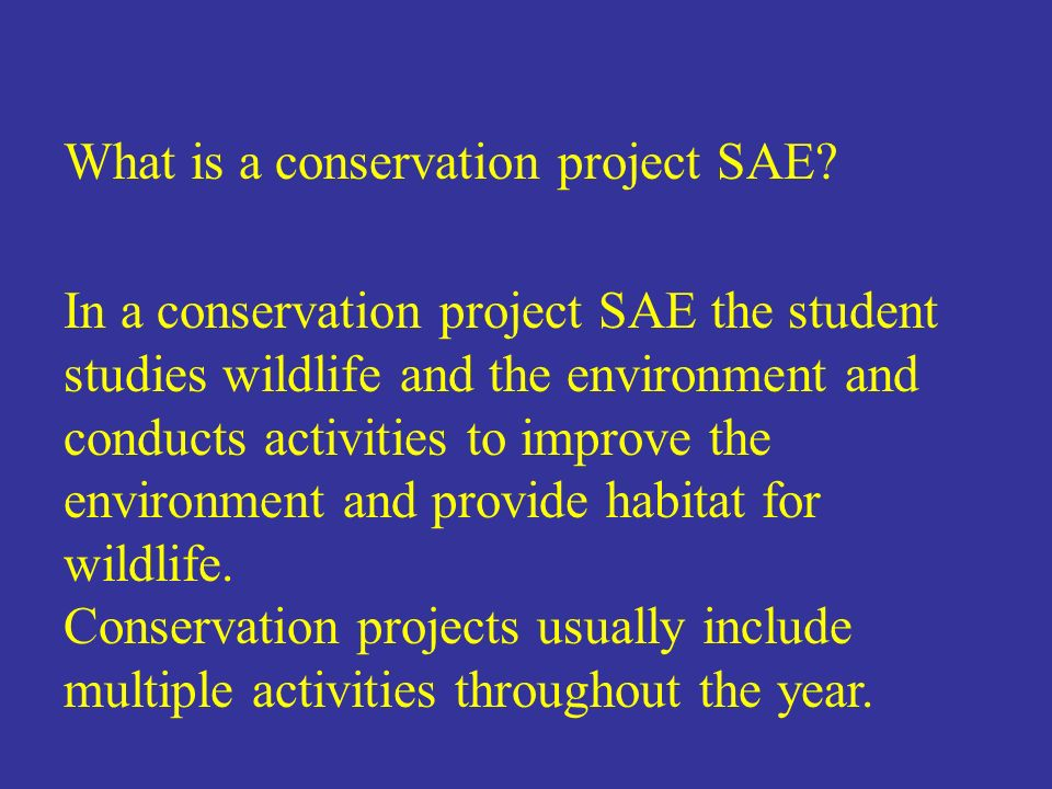 What is a conservation project SAE