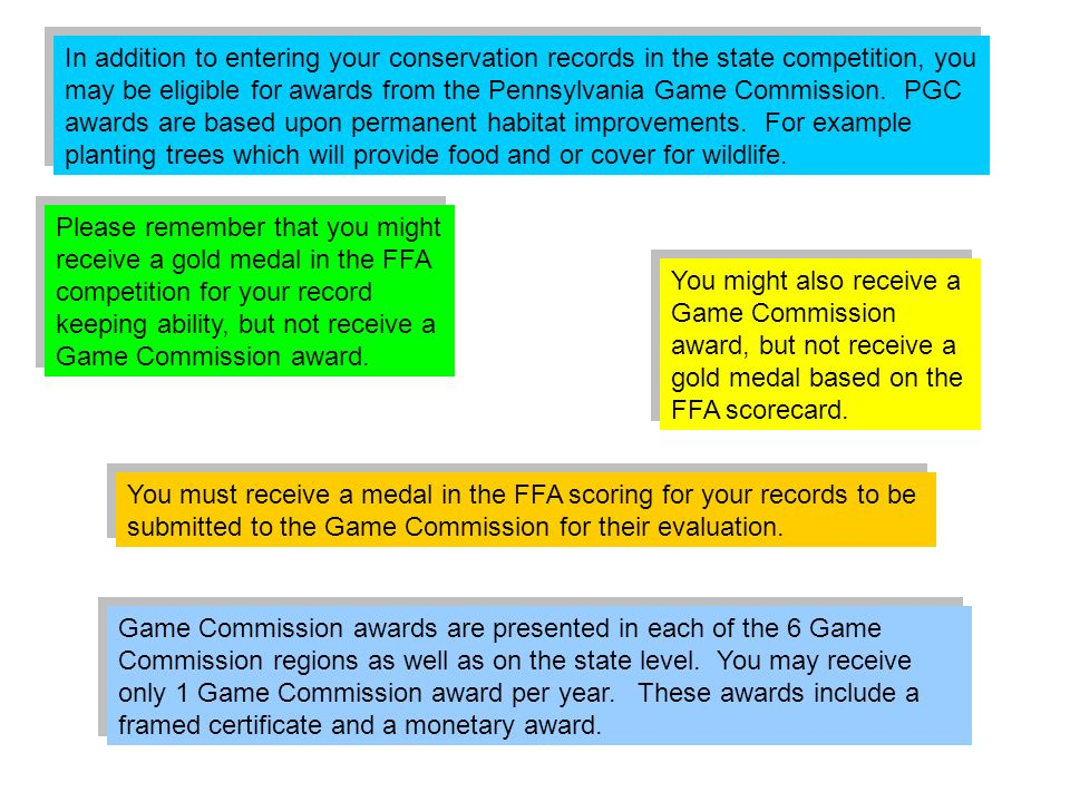 In addition to entering your conservation records in the state competition, you may be eligible for awards from the Pennsylvania Game Commission. PGC awards are based upon permanent habitat improvements. For example planting trees which will provide food and or cover for wildlife.