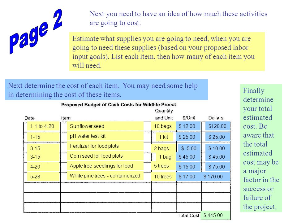 Page 2 Next you need to have an idea of how much these activities are going to cost.