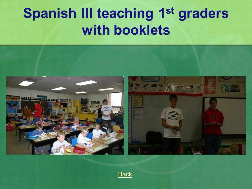 Spanish III teaching 1st graders with booklets