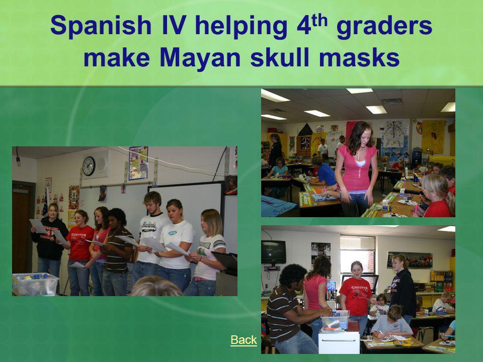Spanish IV helping 4th graders make Mayan skull masks