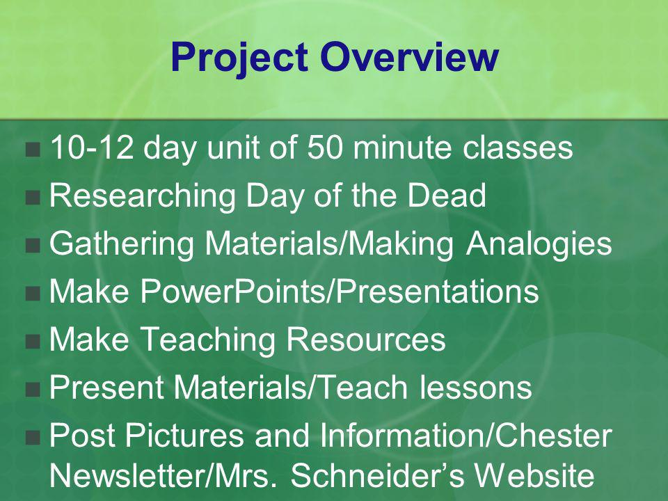 Project Overview 10-12 day unit of 50 minute classes