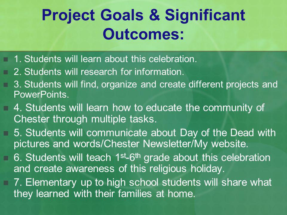 Project Goals & Significant Outcomes: