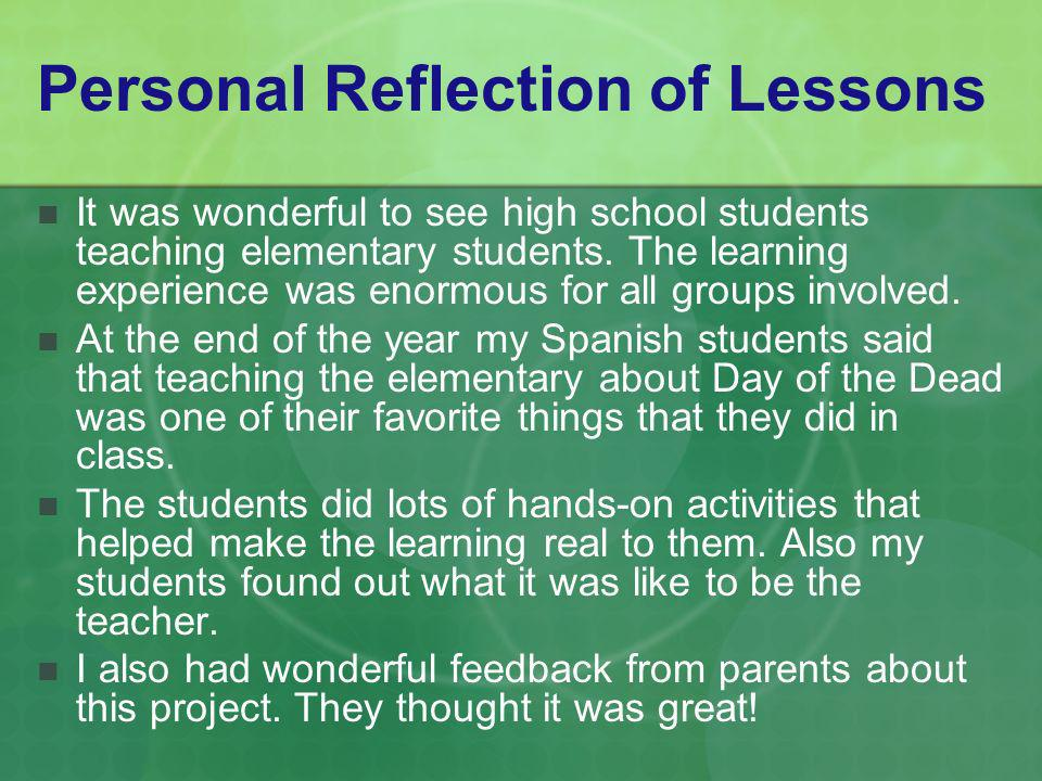 Personal Reflection of Lessons