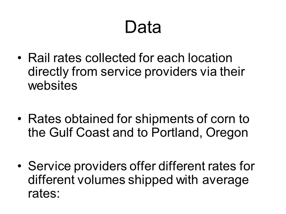 Data Rail rates collected for each location directly from service providers via their websites.