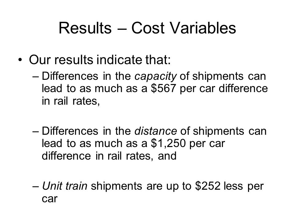 Results – Cost Variables