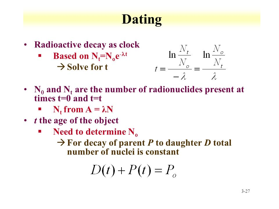 dating based on radioactive decay calculator