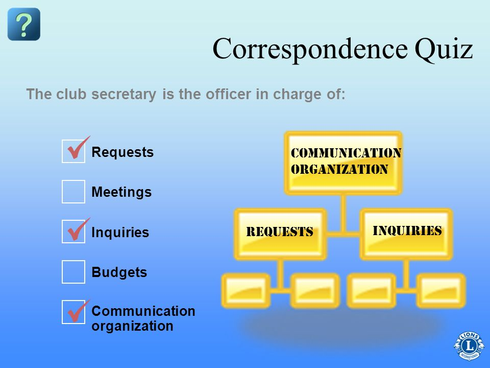 Correspondence Quiz The club secretary is the officer in charge of: