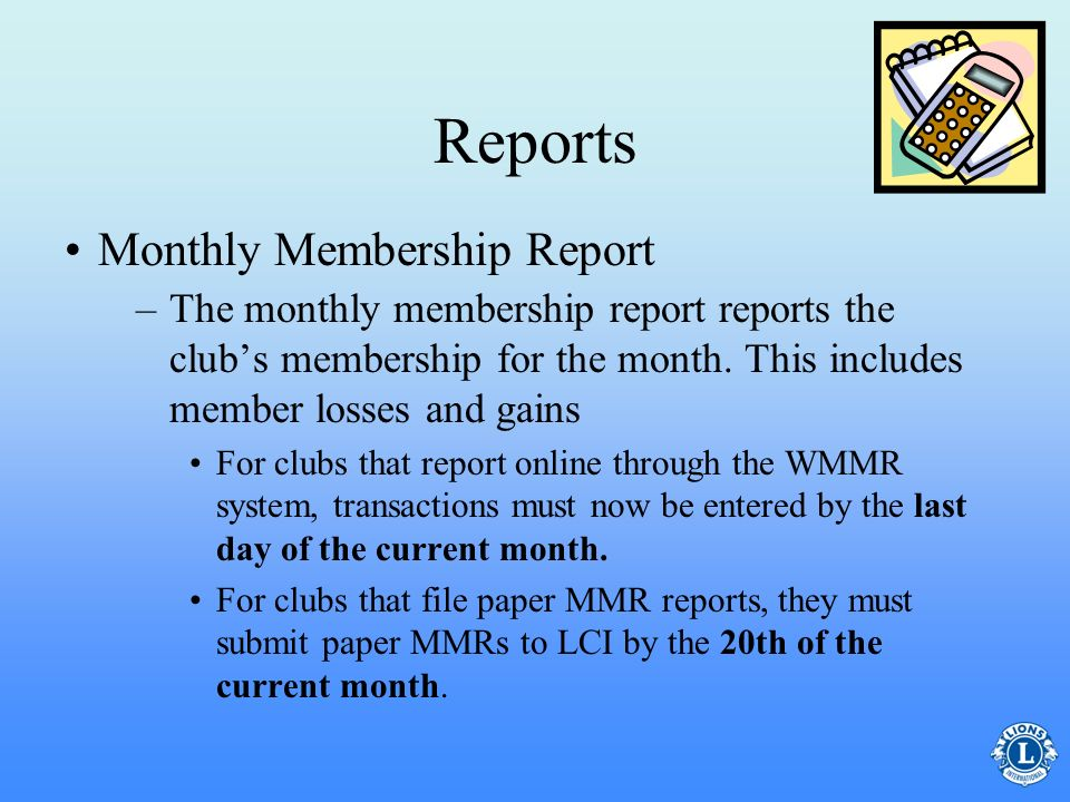 Reports Monthly Membership Report