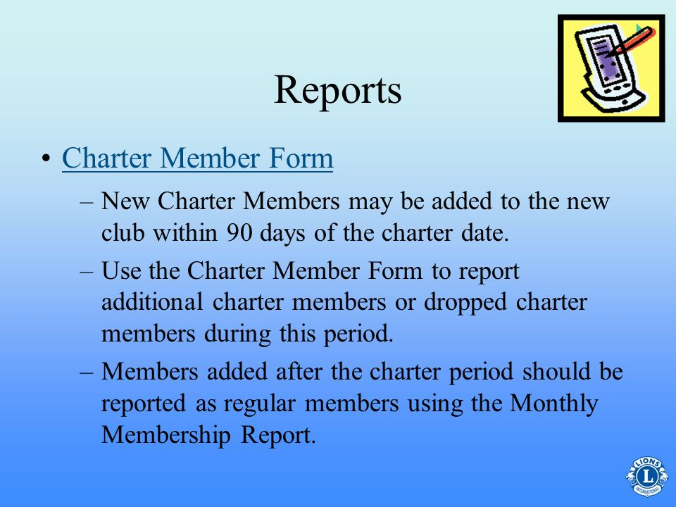 Reports Charter Member Form