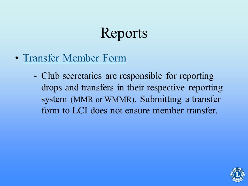 Reports Transfer Member Form