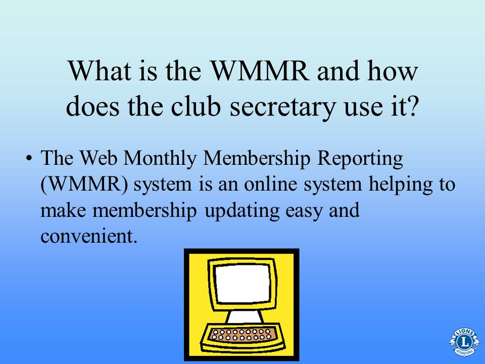 What is the WMMR and how does the club secretary use it
