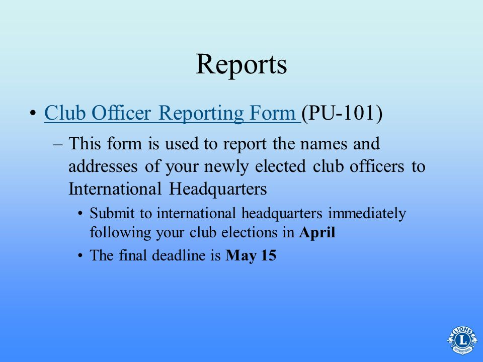Reports Club Officer Reporting Form (PU-101)