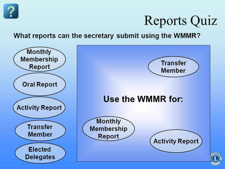 Reports Quiz Use the WMMR for: