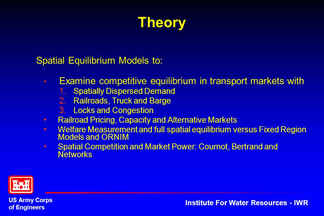 Theory Spatial Equilibrium Models to: Spatially Dispersed Demand