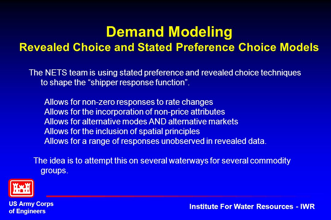 Demand Modeling Revealed Choice and Stated Preference Choice Models