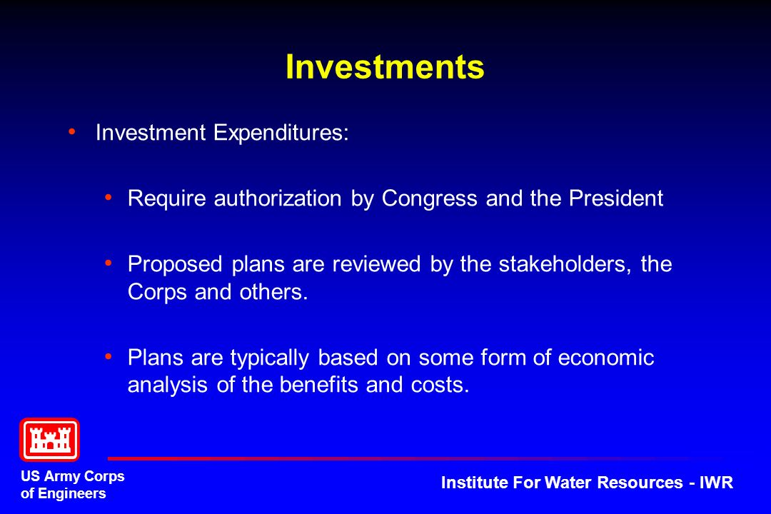 Investments Investment Expenditures: