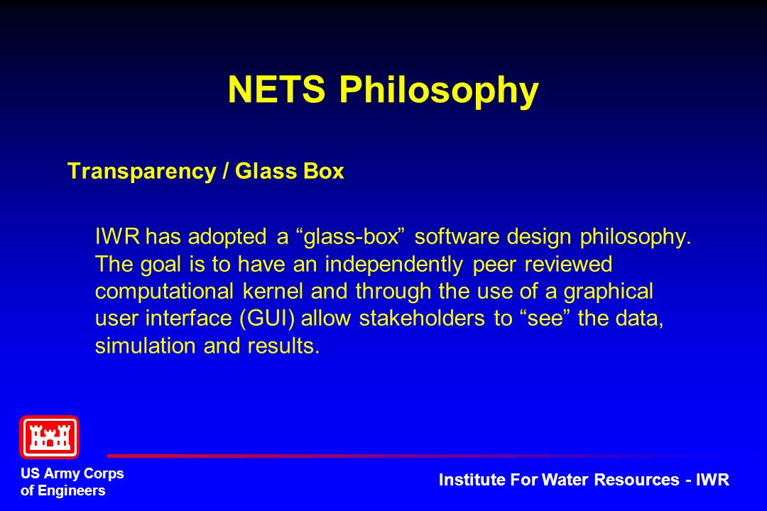 NETS Philosophy Transparency / Glass Box