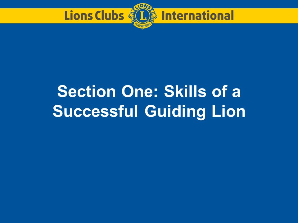 Section One: Skills of a Successful Guiding Lion