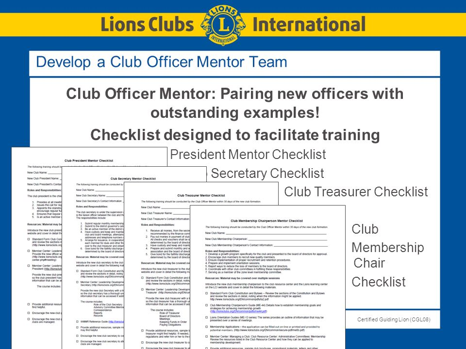 Develop a Club Officer Mentor Team