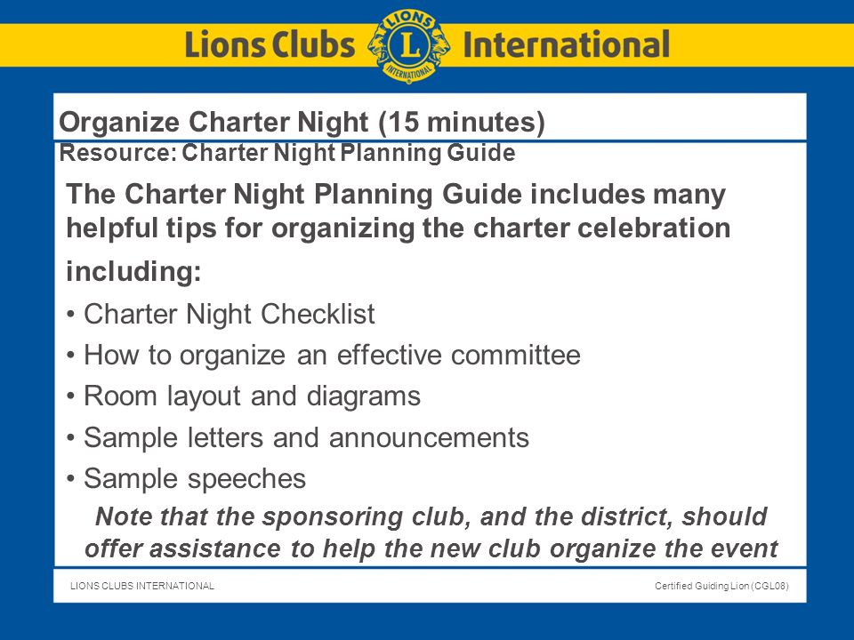 Charter Night Checklist How to organize an effective committee
