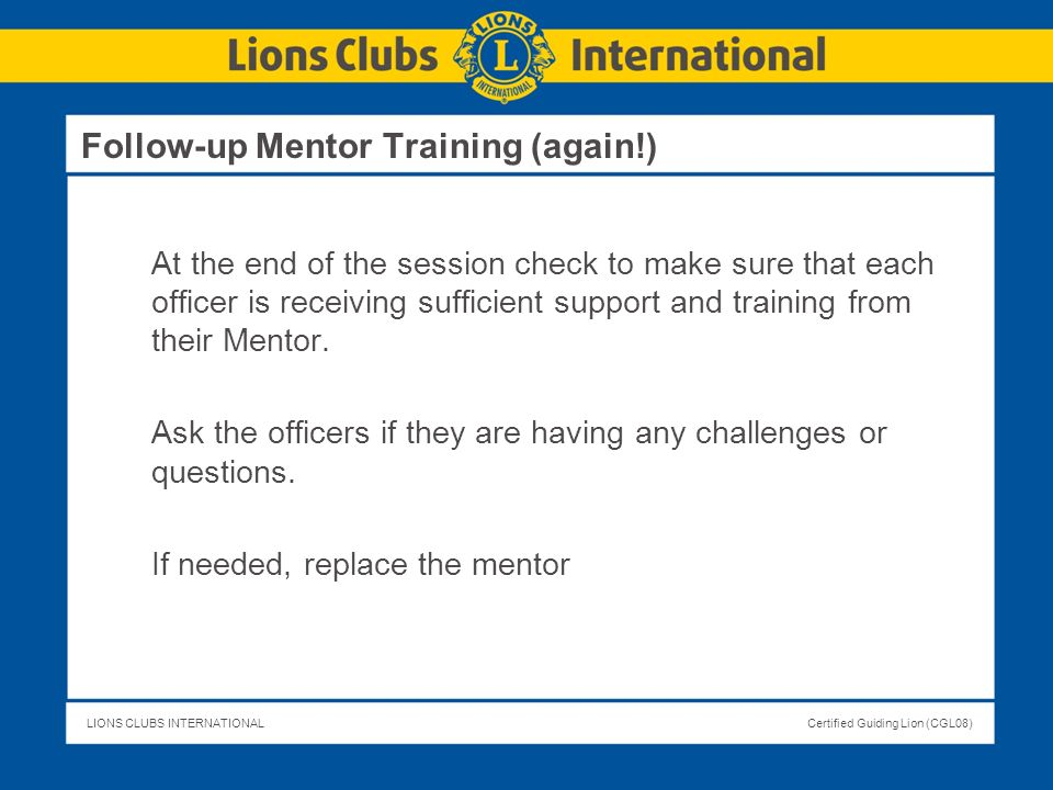 Follow-up Mentor Training (again!)
