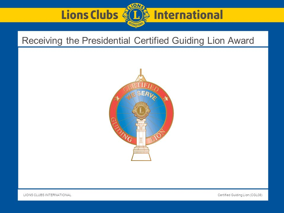 Receiving the Presidential Certified Guiding Lion Award