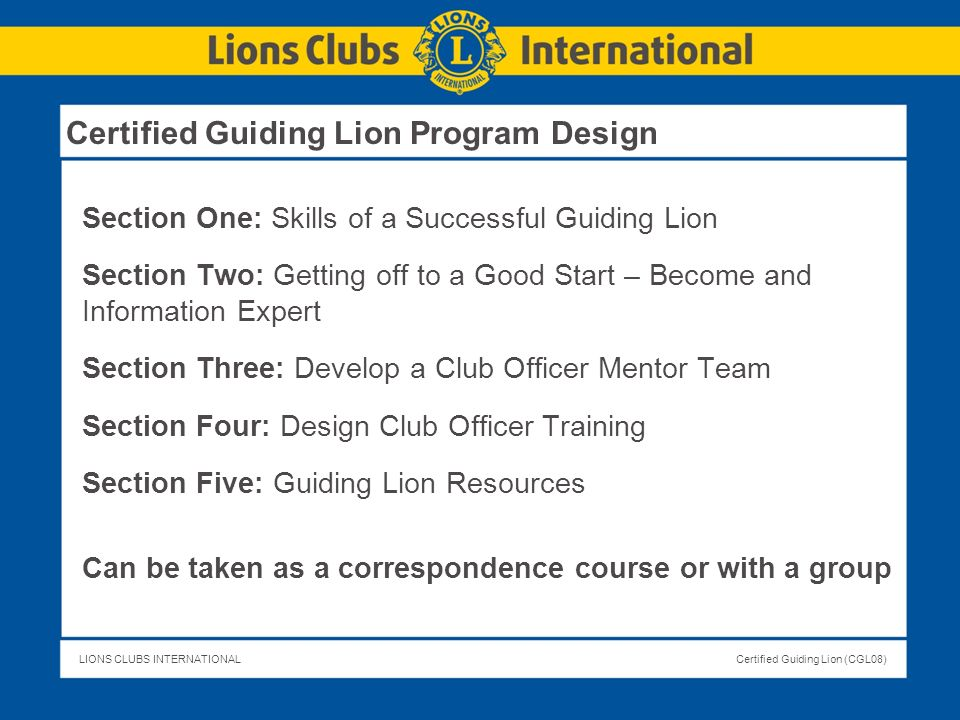 Certified Guiding Lion Program Design
