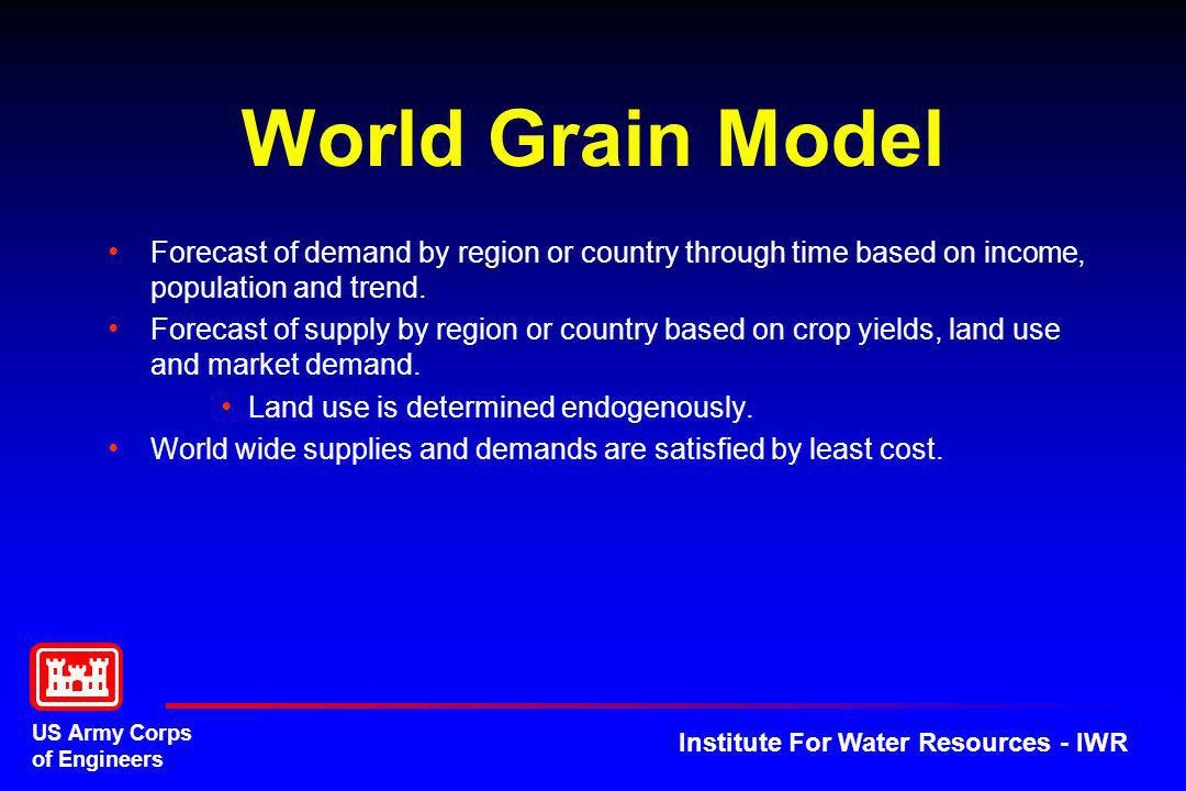 World Grain Model Forecast of demand by region or country through time based on income, population and trend.