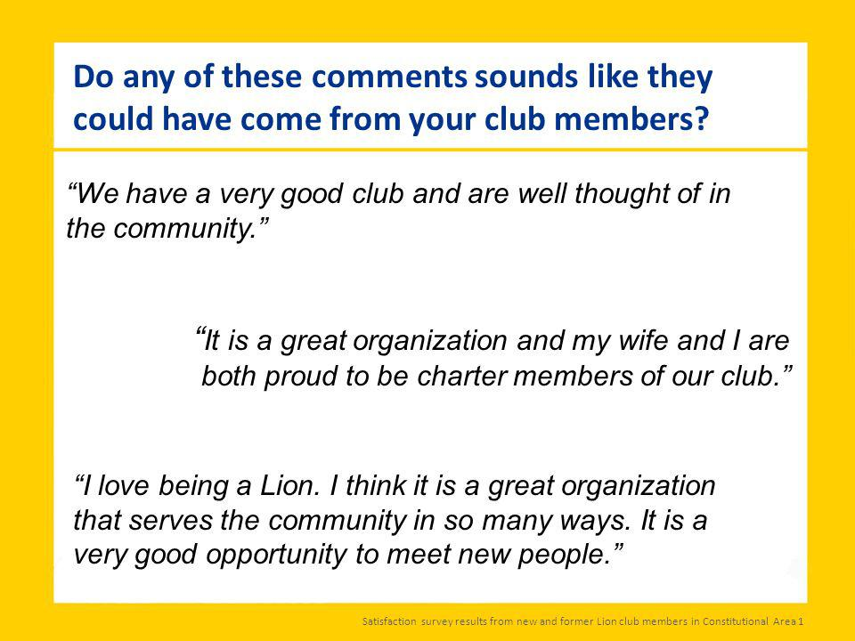 We have a very good club and are well thought of in the community.