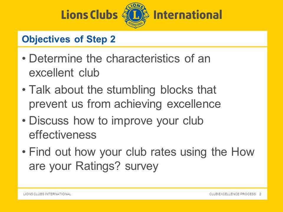 Determine the characteristics of an excellent club