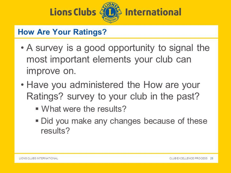 How Are Your Ratings A survey is a good opportunity to signal the most important elements your club can improve on.
