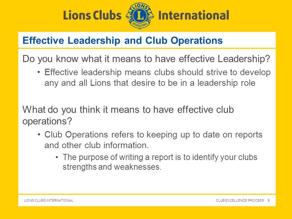 Effective Leadership and Club Operations