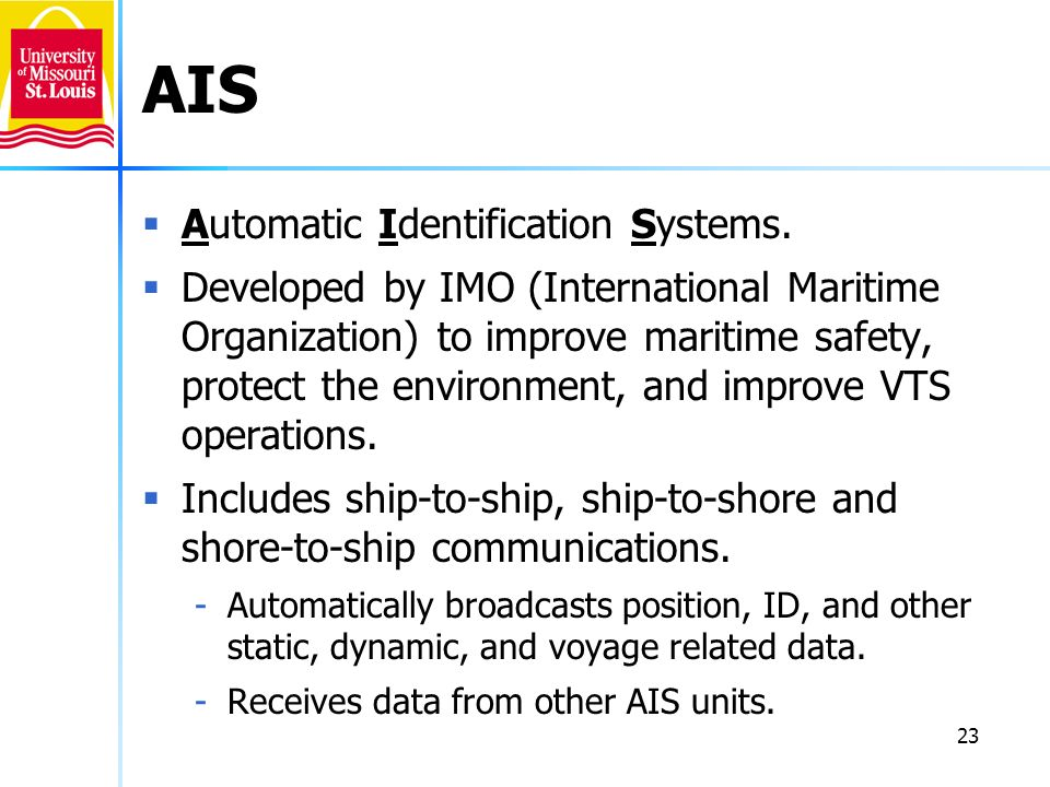 AIS Automatic Identification Systems.