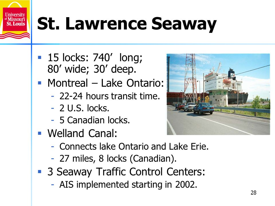 St. Lawrence Seaway 15 locks: 740' long; 80' wide; 30' deep.