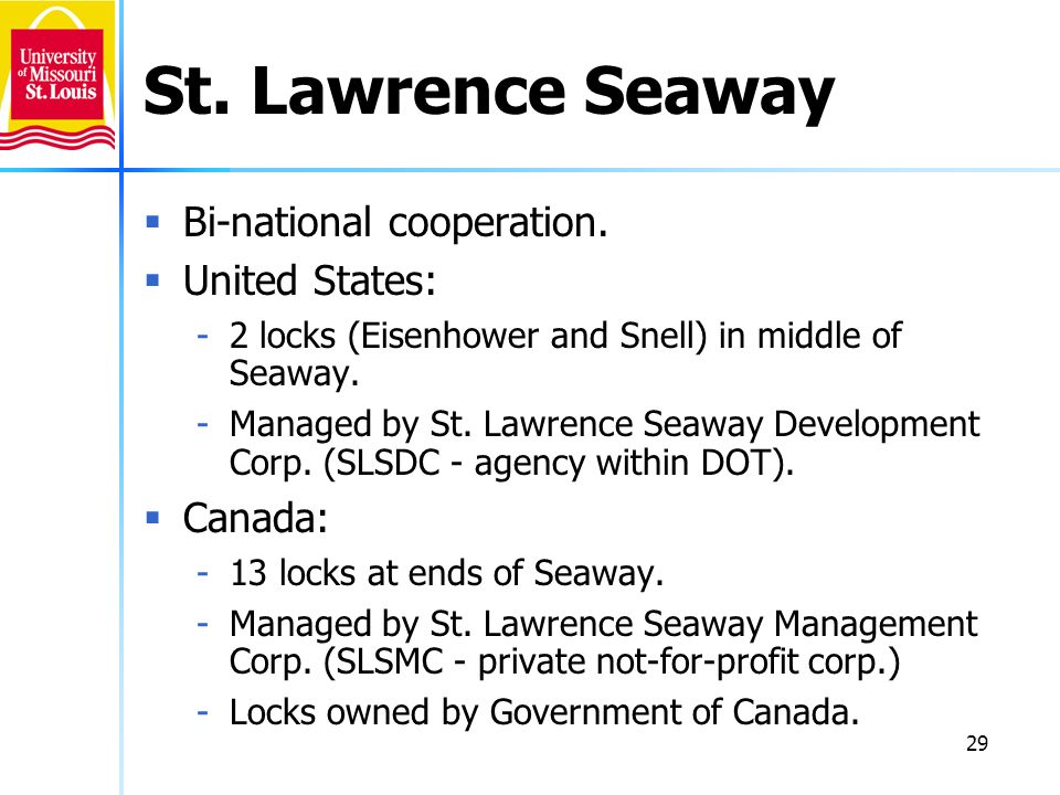 St. Lawrence Seaway Bi-national cooperation. United States: Canada: