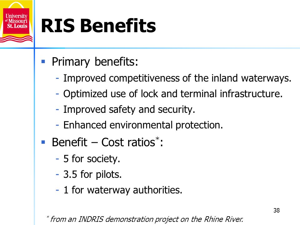 RIS Benefits Primary benefits: Benefit – Cost ratios*: