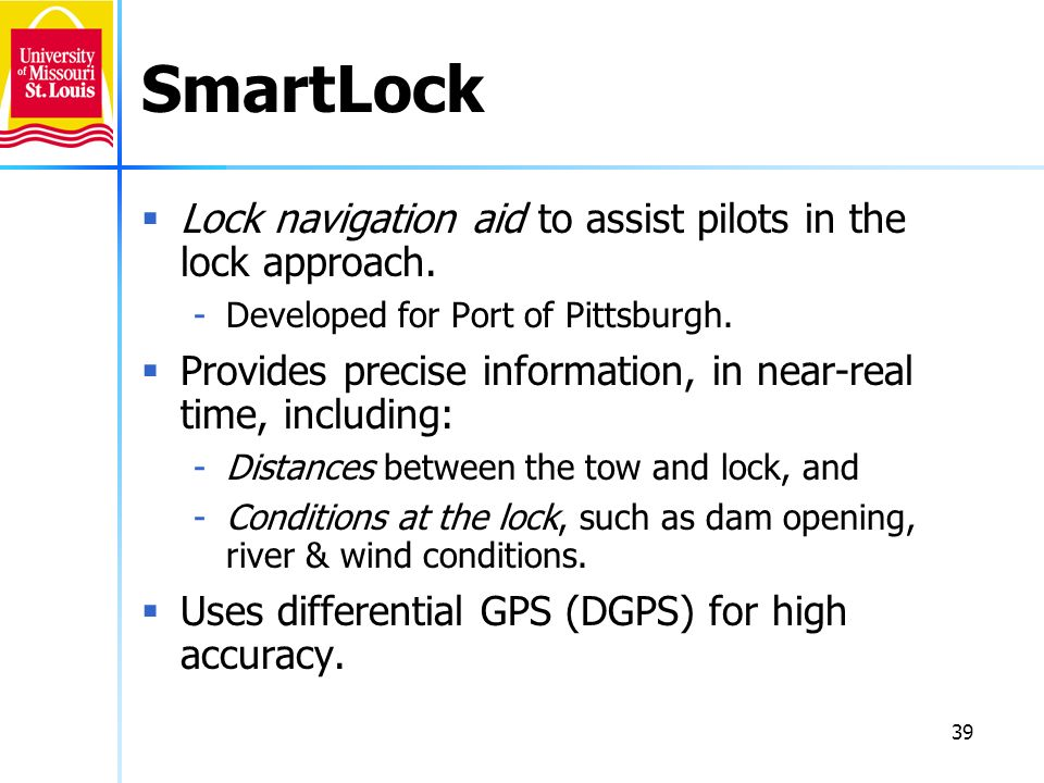 SmartLock Lock navigation aid to assist pilots in the lock approach.