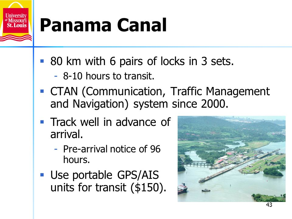 Panama Canal 80 km with 6 pairs of locks in 3 sets.
