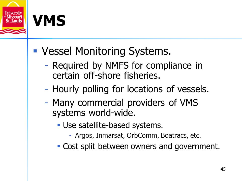 VMS Vessel Monitoring Systems.