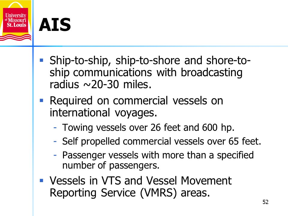 AIS Ship-to-ship, ship-to-shore and shore-to-ship communications with broadcasting radius ~20-30 miles.