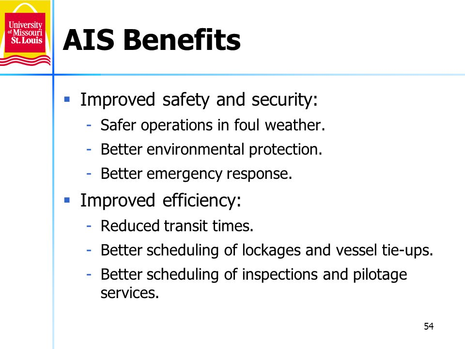 AIS Benefits Improved safety and security: Improved efficiency: