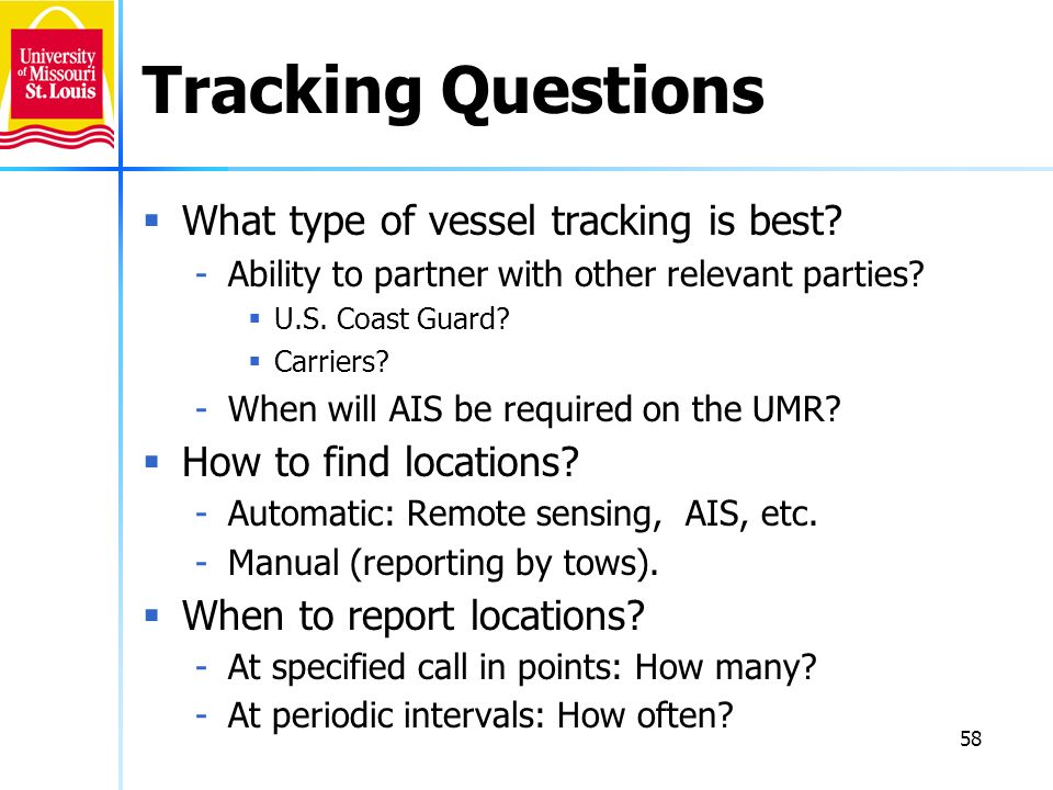 Tracking Questions What type of vessel tracking is best