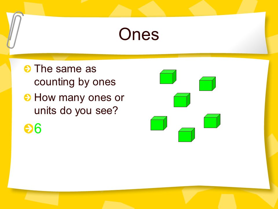 Ones The same as counting by ones How many ones or units do you see 6