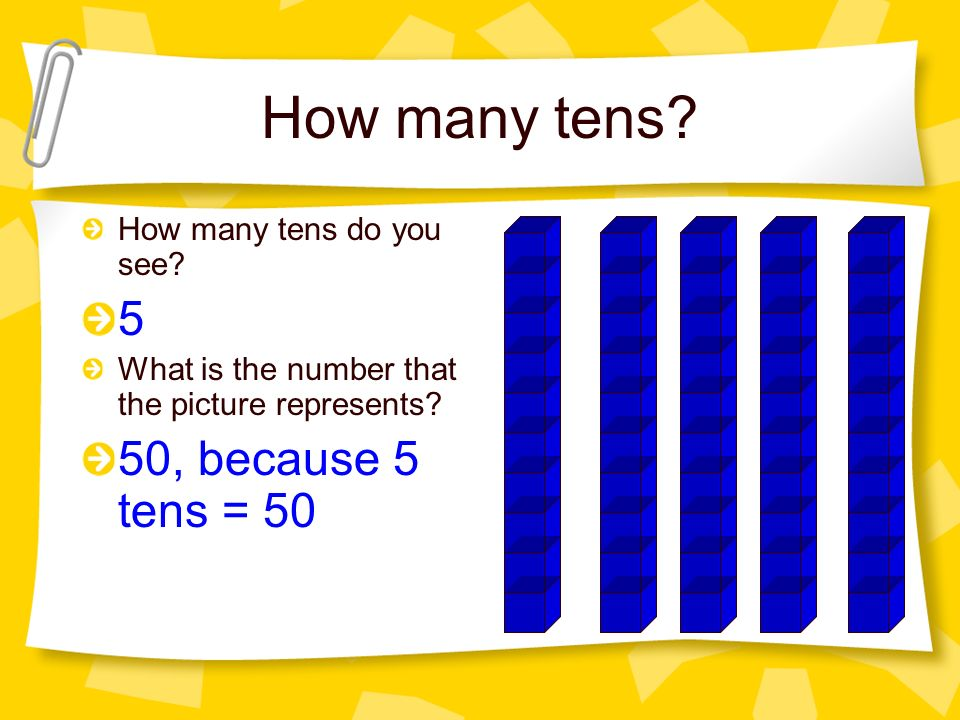 How many tens 5 50, because 5 tens = 50 How many tens do you see